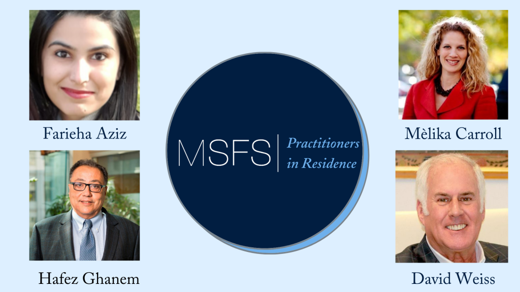 Headshots of Practitioners in Residence with their names and the MSFS logo.