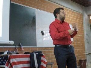 Ben teaching in his classroom in Brazil.