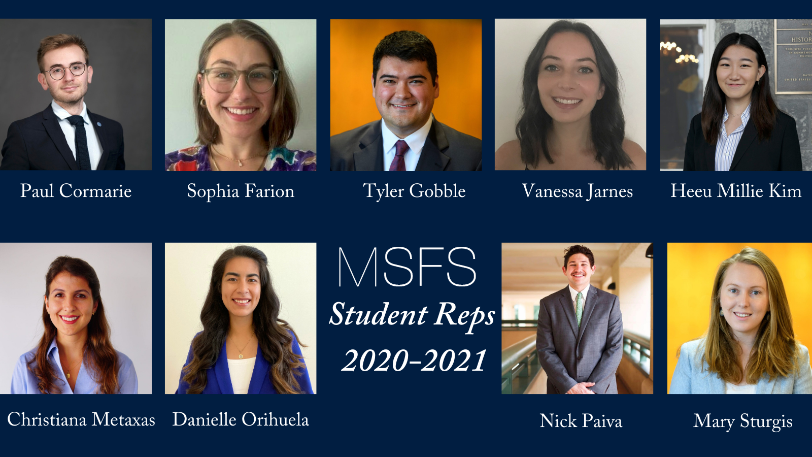Headshot of the MSFS student representatives with the title